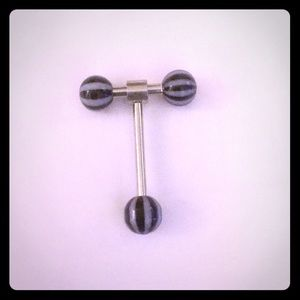 Double Barbell Spinner Tongue Ring-Black
